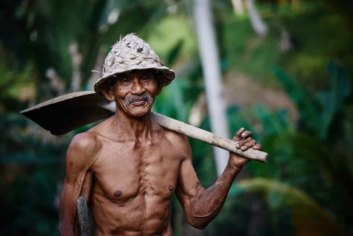 Old Asian Man working hard