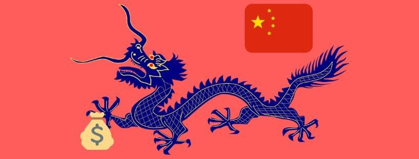 Chinese dragon carrying money, debt trap